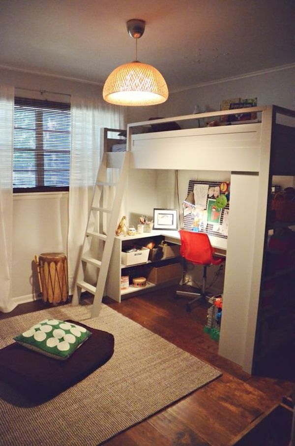 Loft Bed With Desk on l shaped living room arrangement