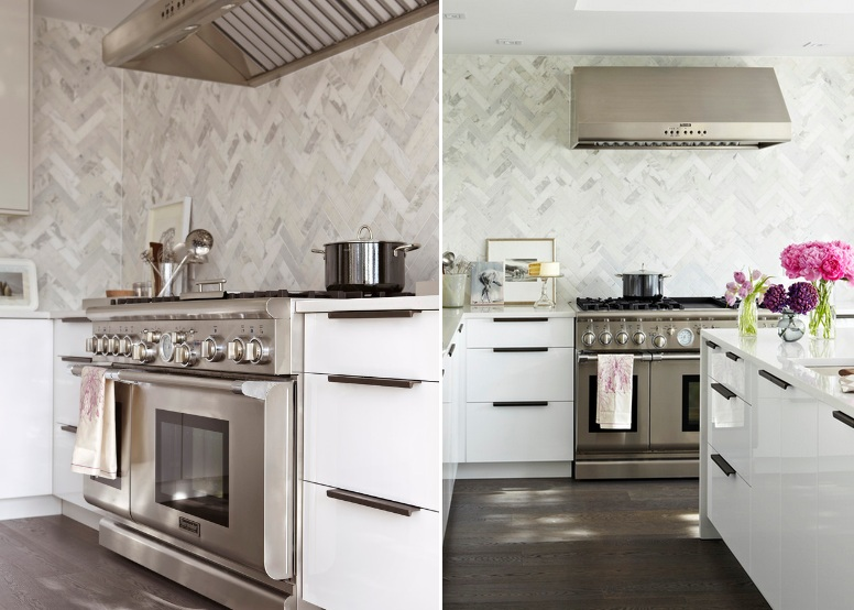 View In Gallery Meets Elegant With A Marble Herringbone Backsplash