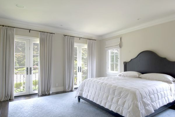 French door window curtains for your patio ideas for Crown molding bedroom ideas