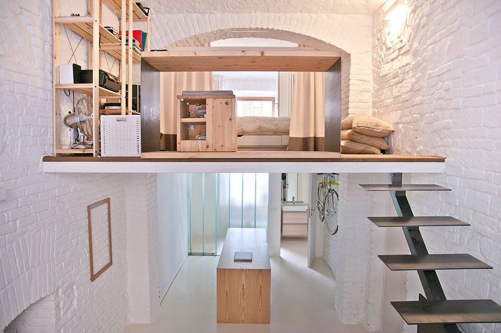 A long and narrow shop turned into a one of a kind loft for Narrow studio apartment