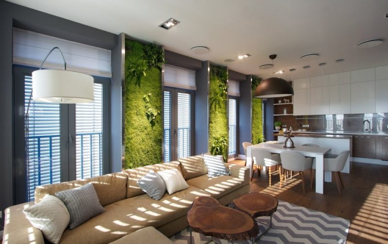 A Combination Of Vintage And Modern Décor Grounded By Vertical Gardens