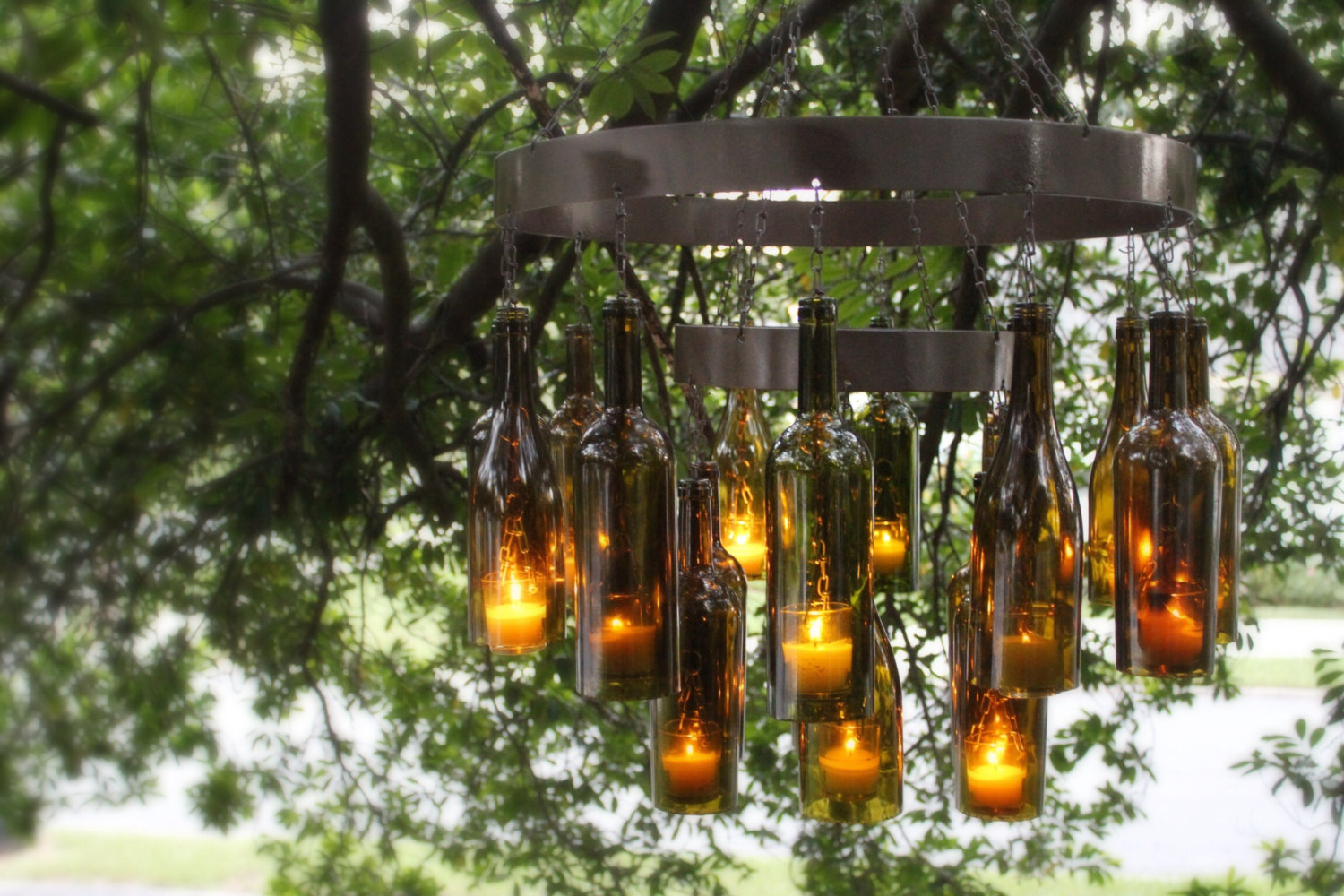 Unique chandeliers made out of recycled wine bottles aloadofball Choice Image