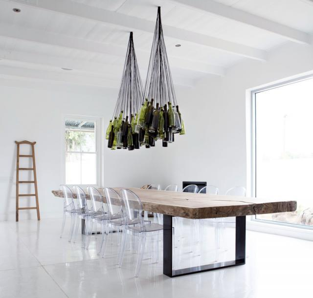 Unique chandeliers made out of recycled wine bottles aloadofball