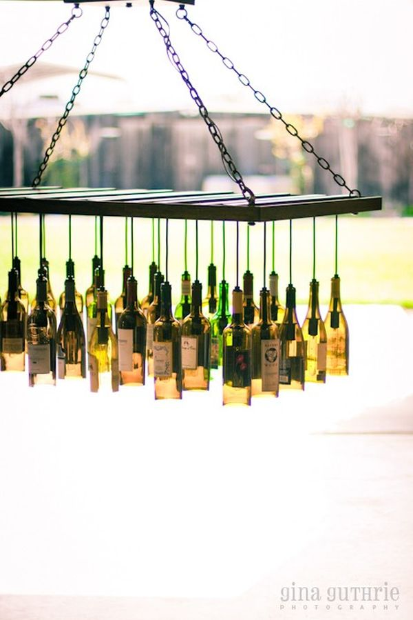 Unique chandeliers made out of recycled wine bottles aloadofball Images