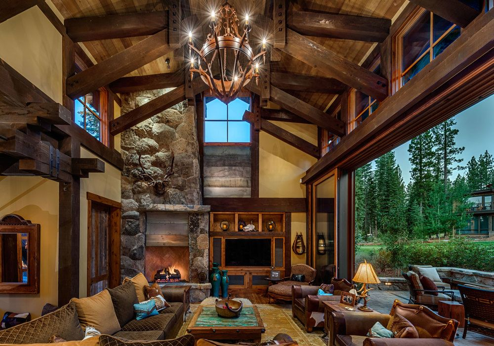 Mountain cabin overflowing with rustic character and for Lodge plans with 12 bedrooms