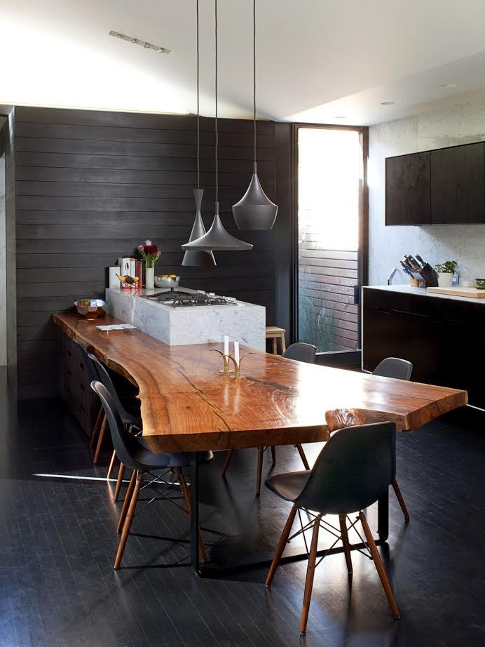 Pairing raw beauty with sleek designs through live edge tables - Table ilot centrale cuisine ...