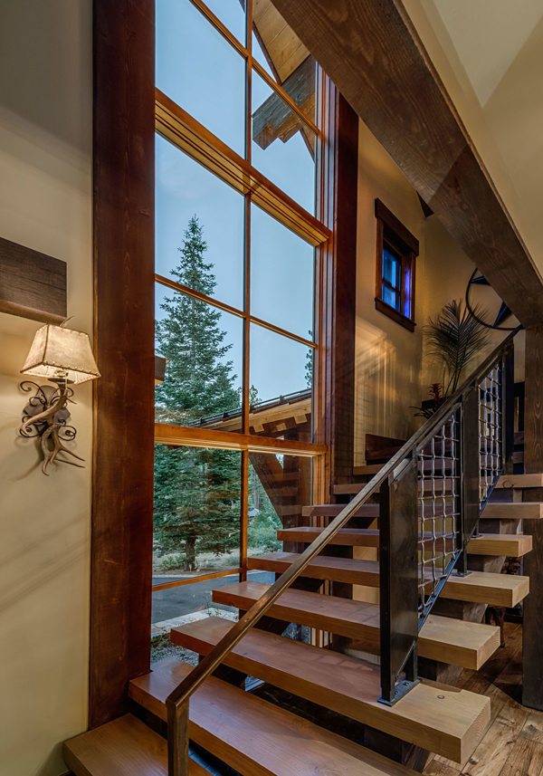 Austin Cabin Wood And Metal Stairs Mountain Interior Design Ideas Amazing