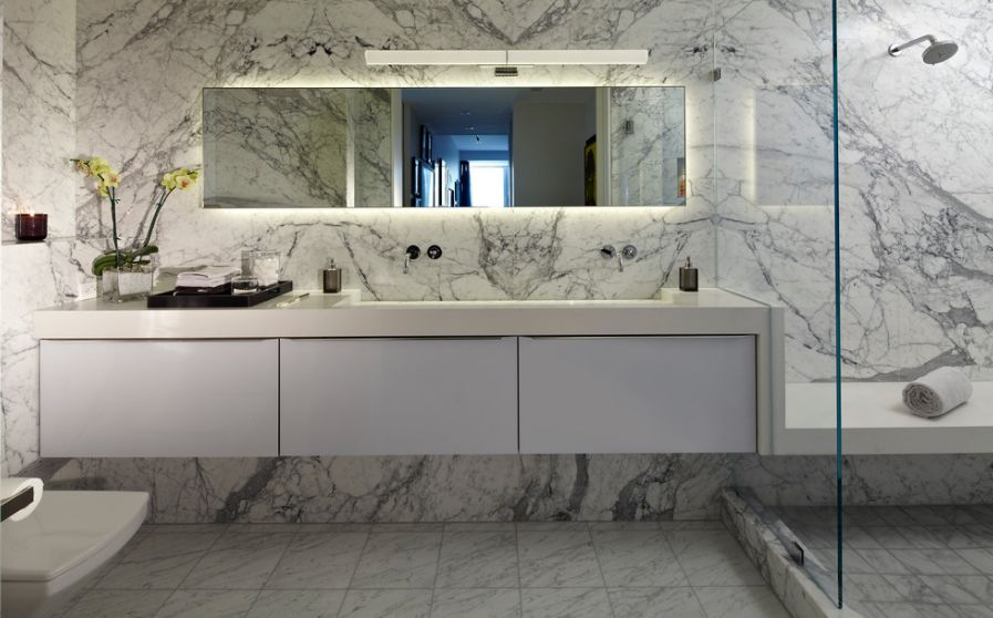 Sophisticated Bathroom Designs That Use Marble To Stay Trendy - Marble slab bathroom