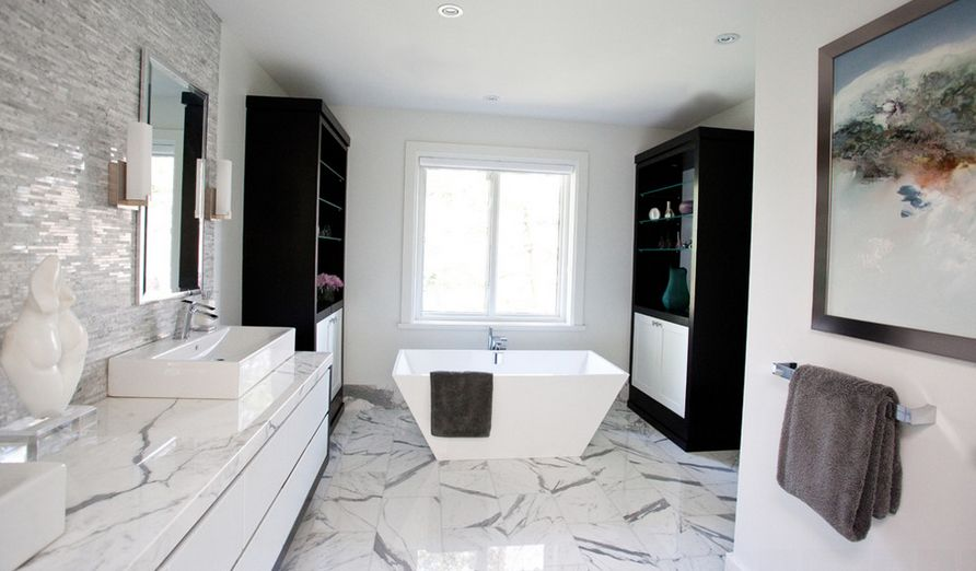 black white and grey bathrooms.  Sophisticated Bathroom Designs That Use Marble To Stay Trendy
