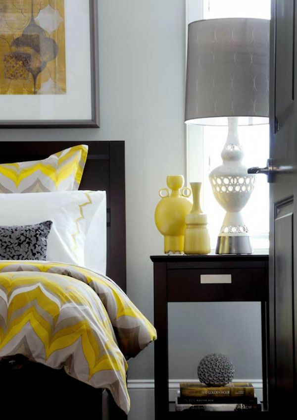 grey and yellow bedroom - Bedroom Color Scheme Ideas