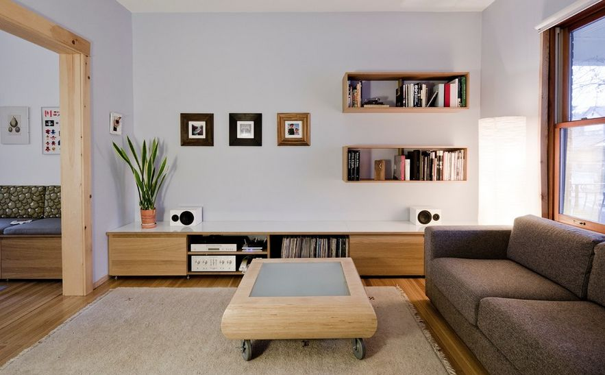 Wall mounted box shelves a trendy variation on open shelves - Open shelving living room ...