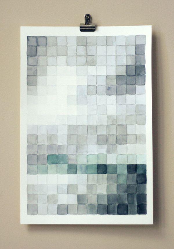 4. Watercolor Pixel Art.