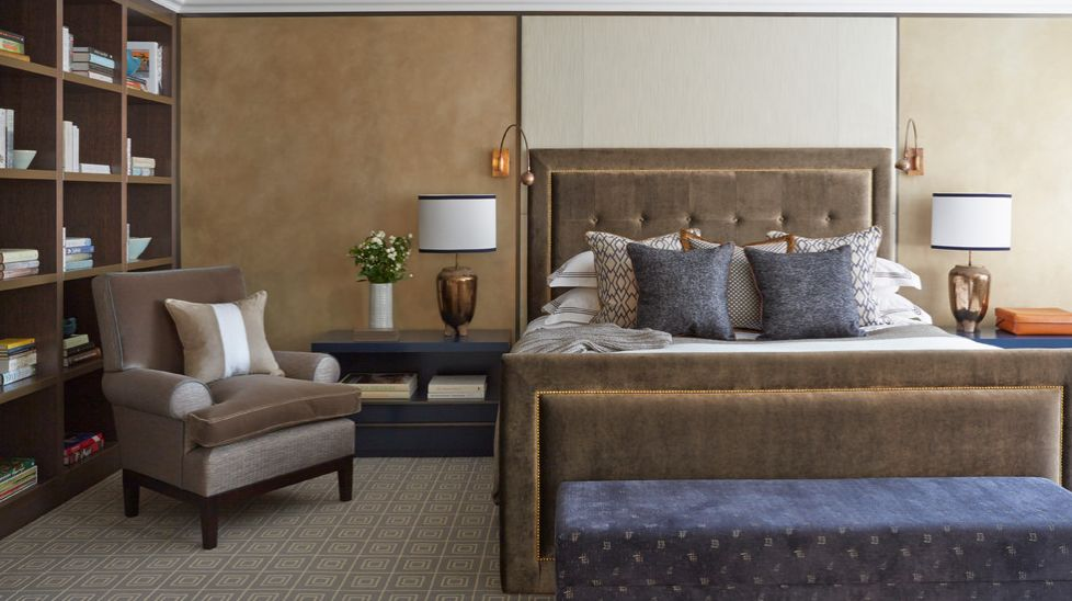 Cozy  grounded brown and navy. 20 Fantastic Bedroom Color Schemes