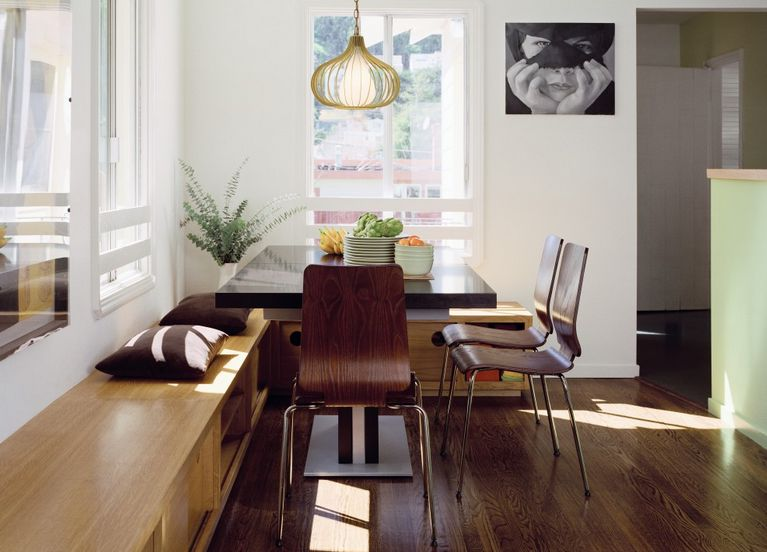 Kitchen Table With Bench Seating Against Wall