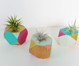 DIY Colorful Wooden Planters With A Geometric Shape