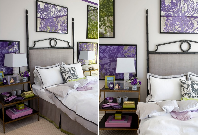 green and purple - Gray Purple Bedroom
