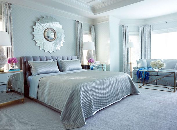 Luxe Silver And Blue Bedroom
