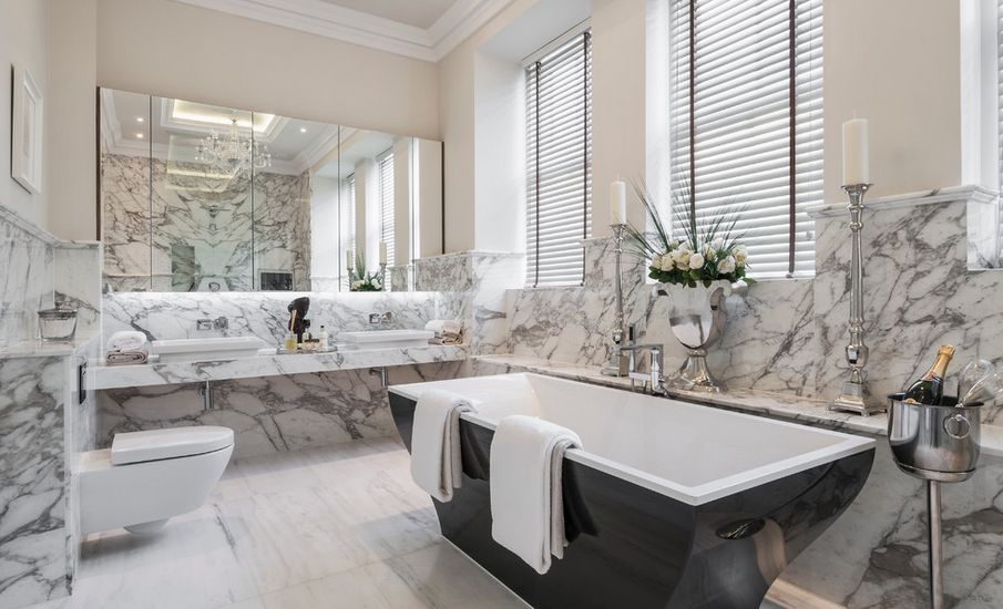 View in gallerySophisticated Bathroom Designs That Use Marble To Stay Trendy. Black And White Marble Bathrooms. Home Design Ideas