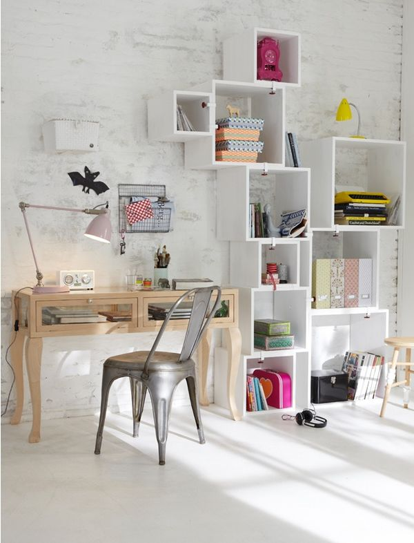 Wall mounted box shelves a trendy variation on open shelves for Home office configurations