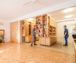 Sliding Shelving Unit Combines Five Functions In One Space