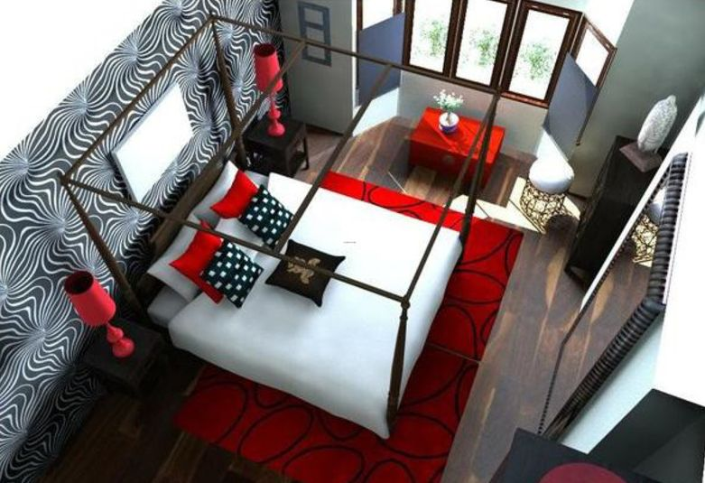 Red, White, And Black Bedroom.