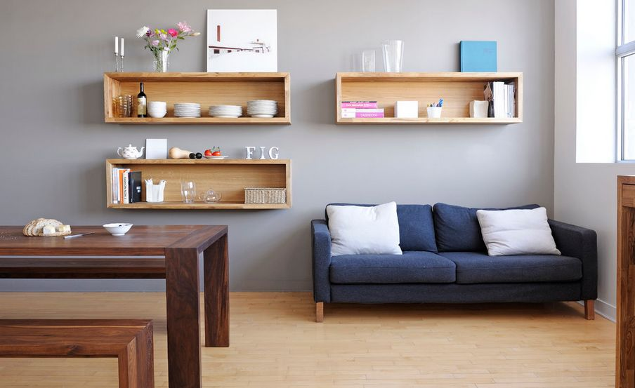 Wall mounted box shelves a trendy variation on open shelves for Living room shelves