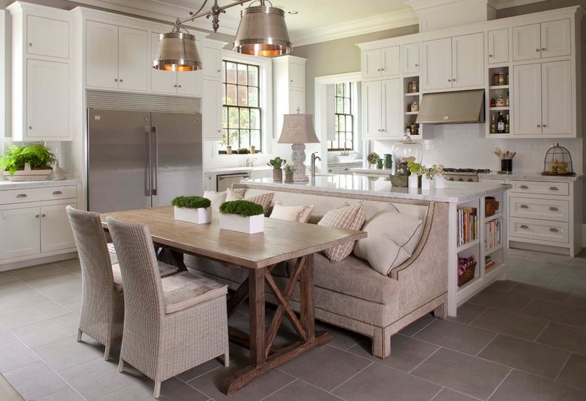 How a kitchen table with bench seating can totally for How to build a kitchen island with seating