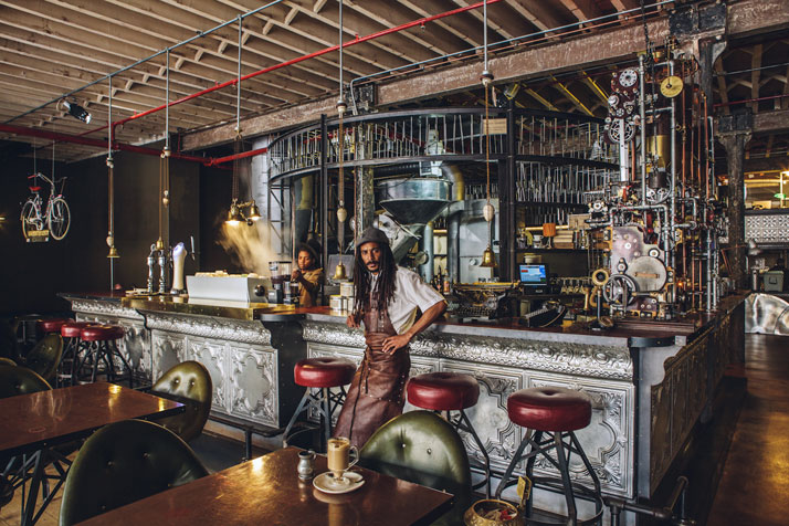 A Cape Town Shop Promotes Excellent Coffee Through A Steampunk Design