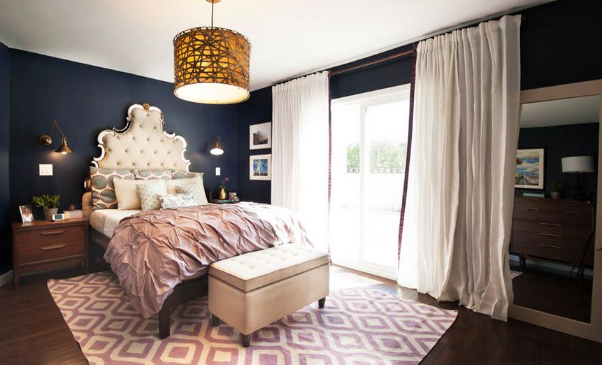 Sophisticated Yet Youthful Blue And Purple Bedroom.