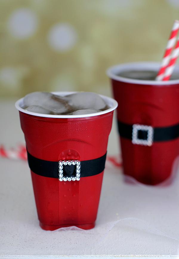 Santas Belt On Plastic Cups