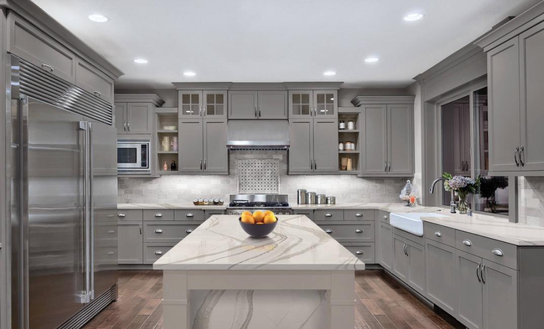 A Stylish and Modern Gray Marble Kitchen