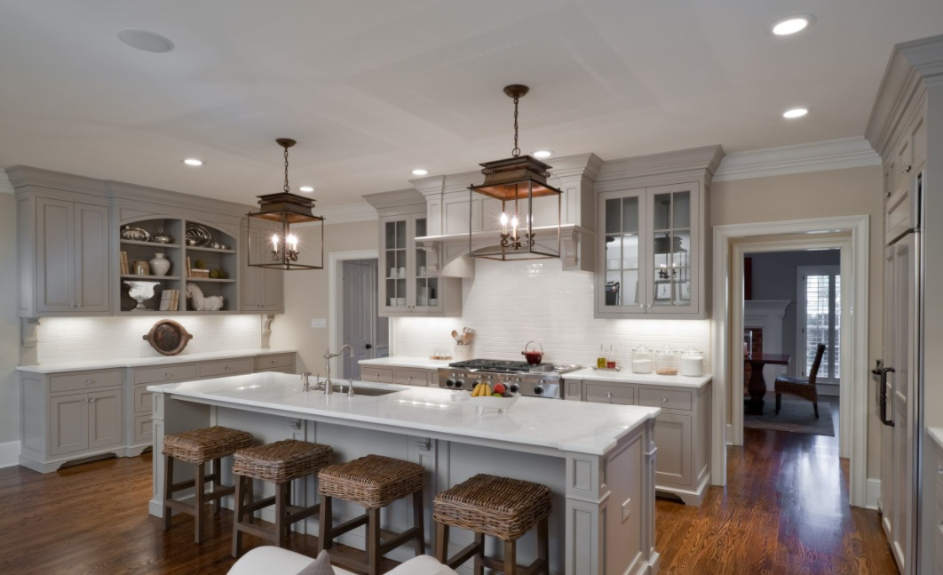 Light Gray Cabinets and a Matching Island