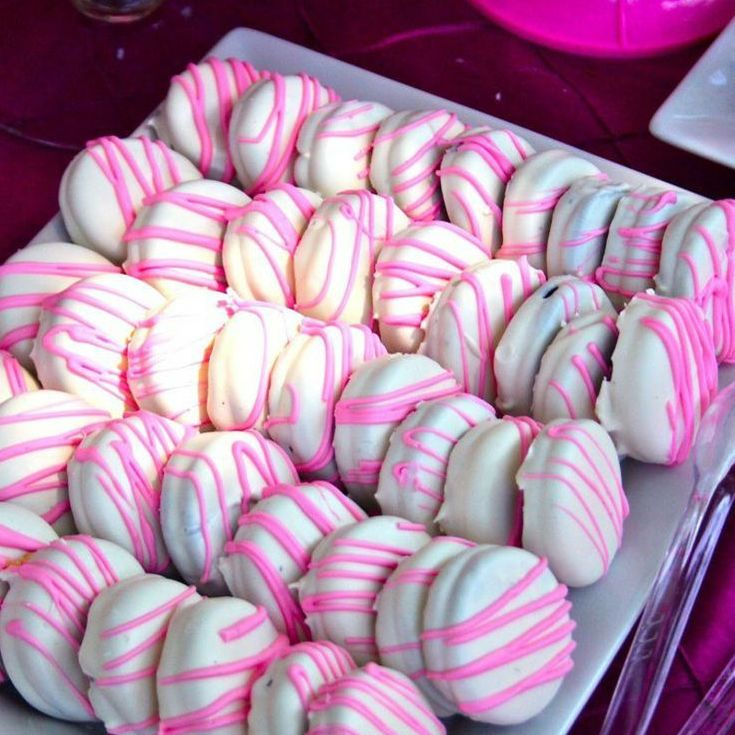 Dipped Oreos For Baby Shower Part - 45: Pink Drizzled White Chocolate Cookies.