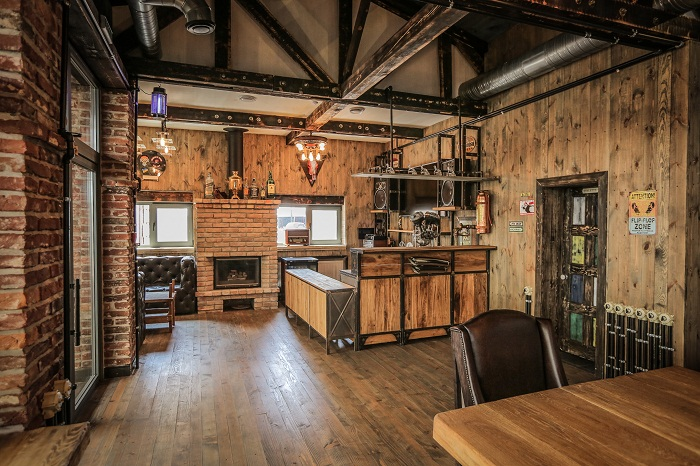 Crazy bbq a bikers 39 complex infused with vintage and - Vintage industrial interior design ...