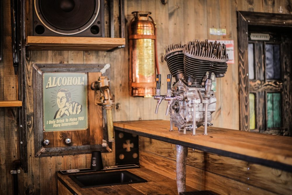 Crazy bbq a bikers complex infused with vintage and