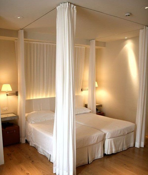 How to create dreamy bedrooms using bed curtains Short canopy bed
