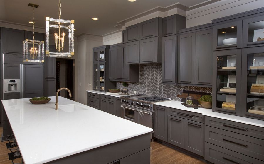 Nice 20 Stylish Ways To Work With Gray Kitchen Cabinets