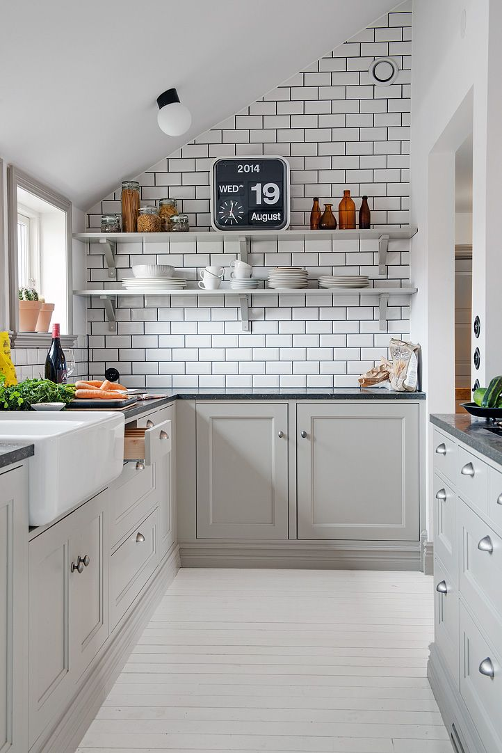 20 Stylish Ways To Work With Gray Kitchen Cabinet -> Kuchnia Tapeta Zamiast Plytek