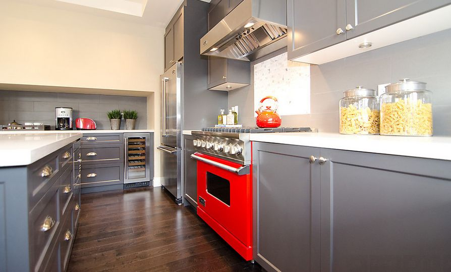 Stylish Ways To Work With Gray Kitchen Cabinets - Red and grey kitchen cabinets
