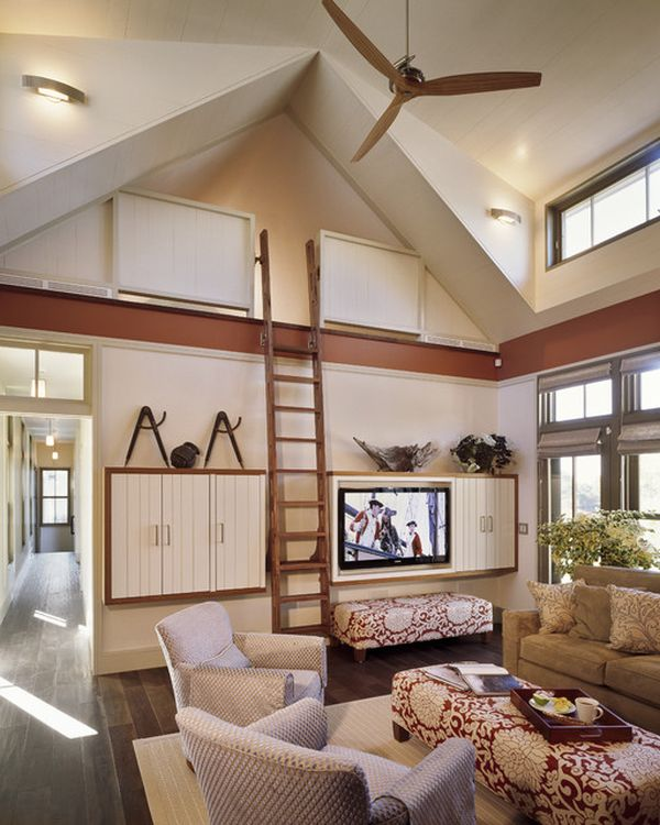 Inspiring ways of using library ladders in the house for Piece of living room decor