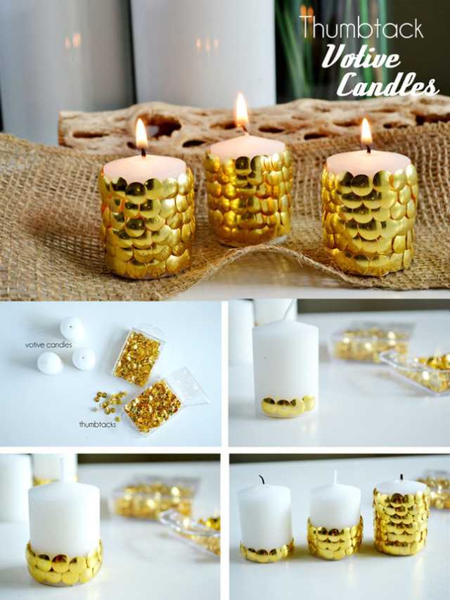 New Year Decoration Ideas For Home Part - 20: Thumbtack Votive Candles.