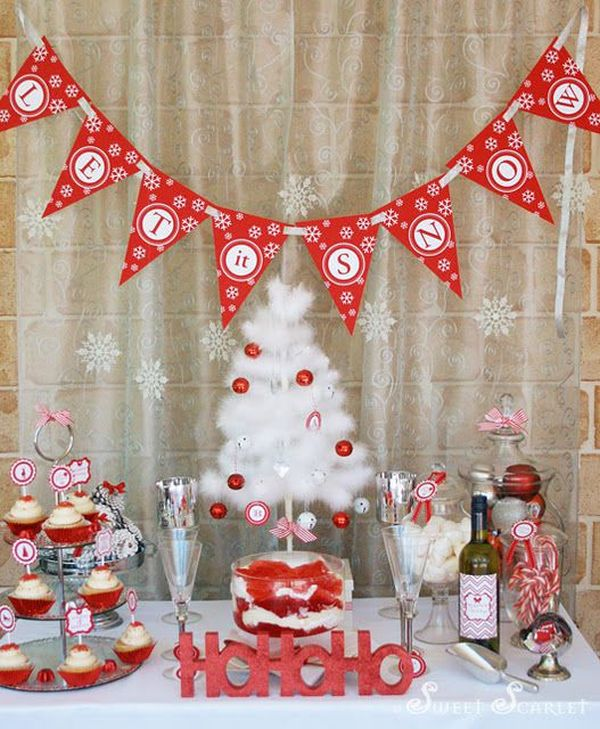 red and white colored dcor - Christmas Party Decorations