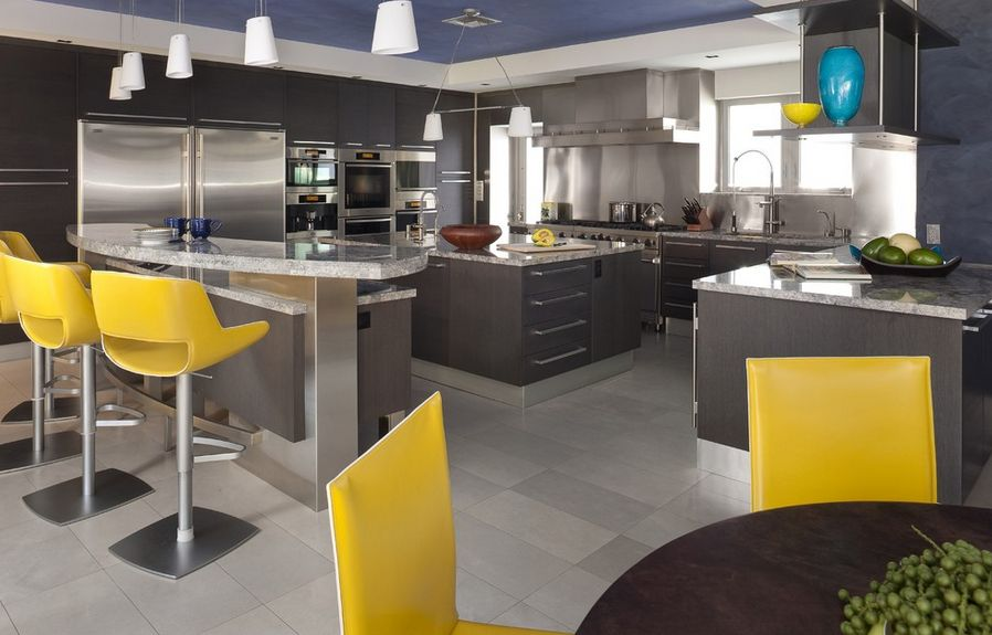 Stylish Ways To Work With Gray Kitchen Cabinets - Light grey kitchen cabinets with yellow walls