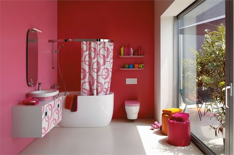 amaranth and white - Red And White Bathroom
