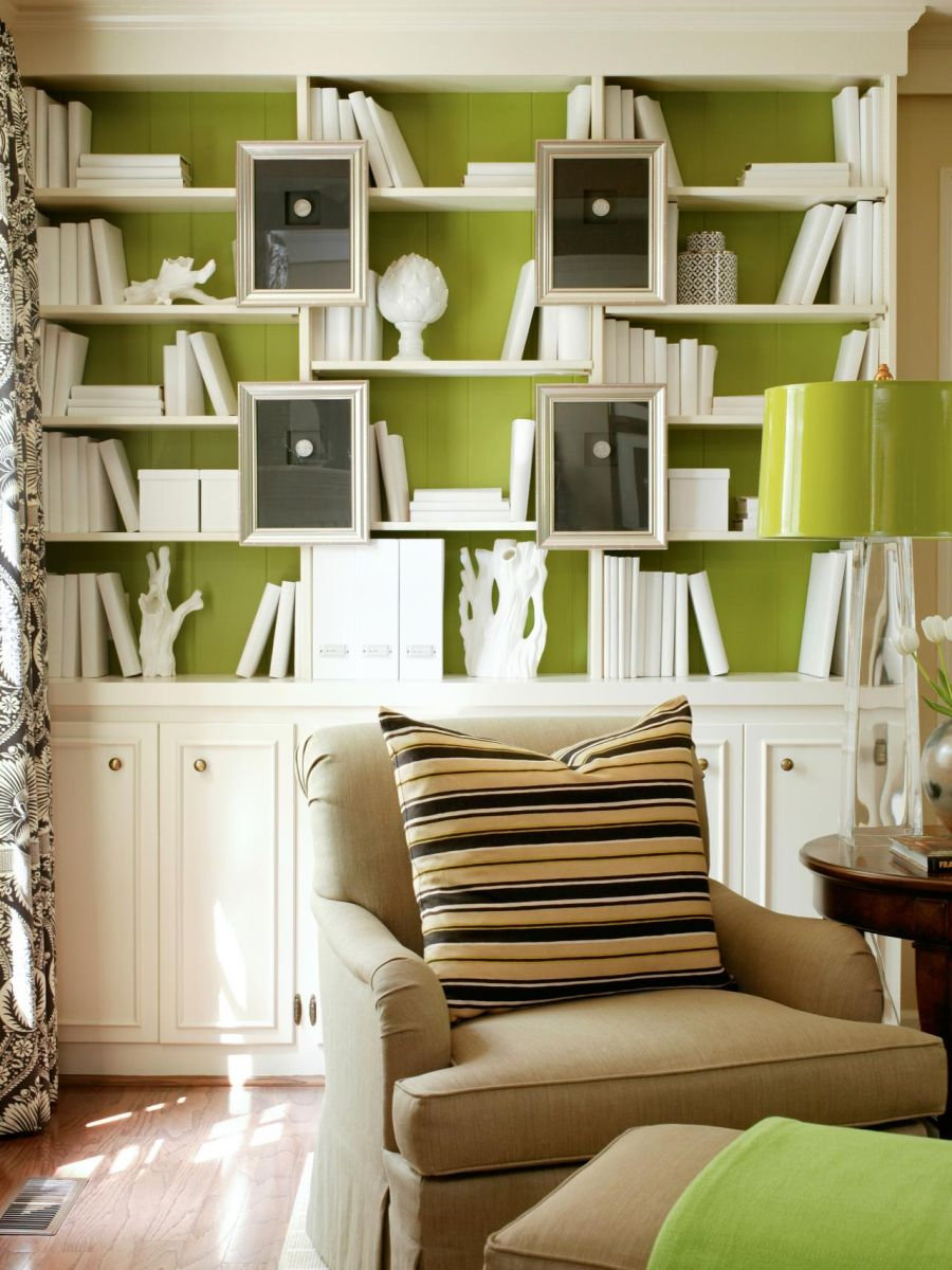 Accent wall ideas for living room - Bookshelves As Accent Wall
