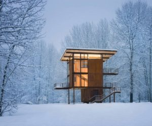 Steel Weekend Cabin On Stilts Designed For Safe Mountain Getaways