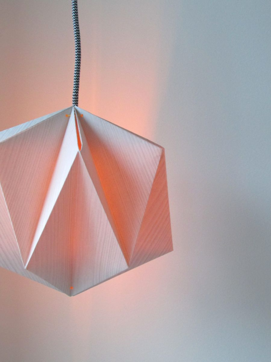 origami lampshade made from wallpaper. Black Bedroom Furniture Sets. Home Design Ideas