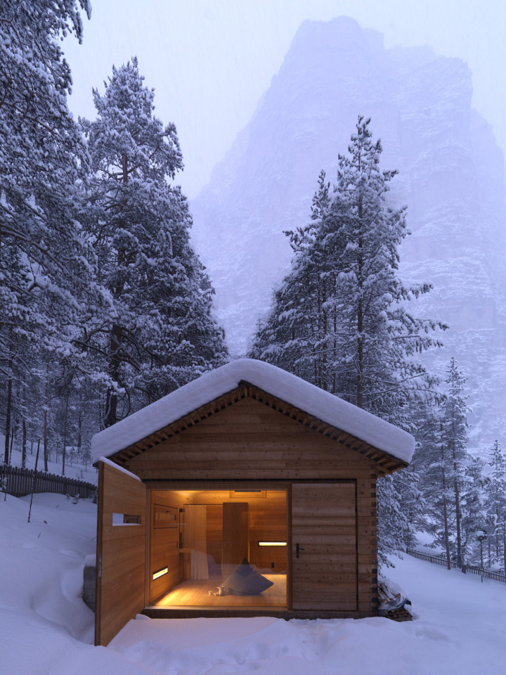 Tyrol-alpine-lodge-wooden-wall-enclosure