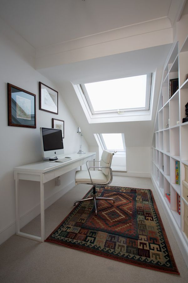 Narrow desks for slim spaces and space savvy homes for Long narrow office layout