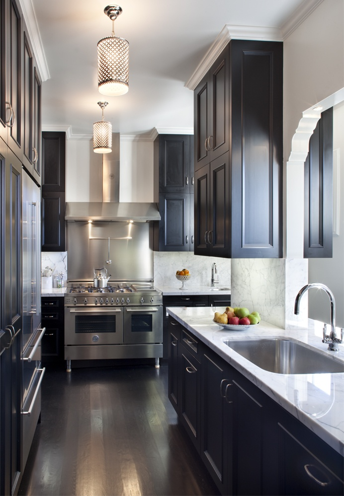 Galley Kitchen Cabinets  One Color Fits Most Black